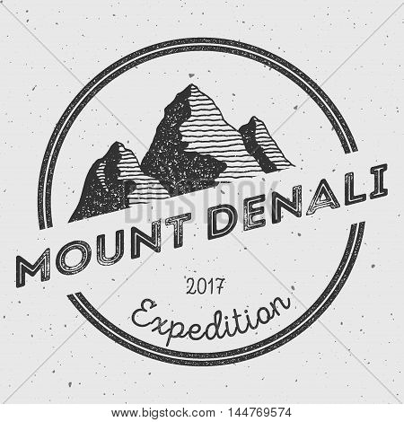 Denali In Alaska, Usa Outdoor Adventure Logo. Round Expedition Vector Insignia. Climbing, Trekking,
