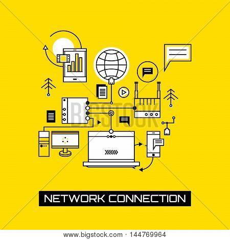 Internet services and technology data connection. On-line business concept vector illustration. Modern electronic equipment.