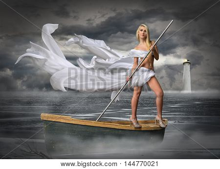 Beautiful young woman dressed in white riding boat over mystical landscape