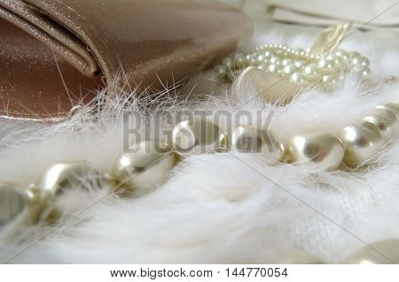 Pearls and fur pretty and feminine still life for wedding day