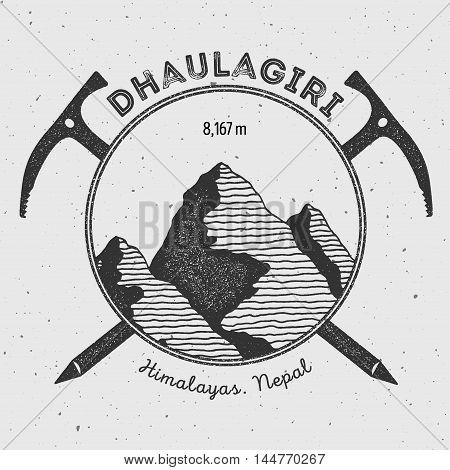 Dhaulagiri In Himalayas, Nepal Outdoor Adventure Logo. Climbing Mountain Vector Insignia. Climbing,