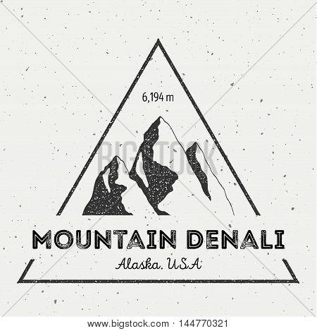 Denali In Alaska, Usa Outdoor Adventure Logo. Triangular Mountain Vector Insignia. Climbing, Trekkin