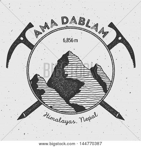 Ama Dablam In Himalayas, Nepal Outdoor Adventure Logo. Climbing Mountain Vector Insignia. Climbing,