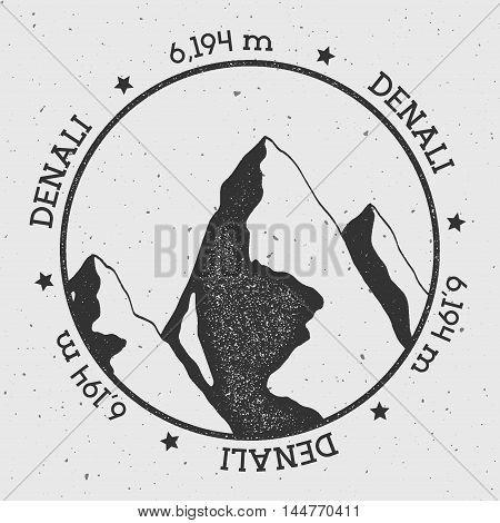 Denali In Alaska, Usa Outdoor Adventure Logo. Round Stamp Vector Insignia. Climbing, Trekking, Hikin