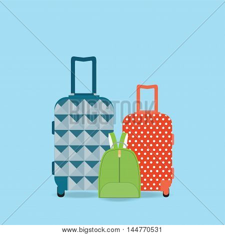 Group of Baggage Travel bag backpack and suitcase isolated on white background Flat style vector illustration.