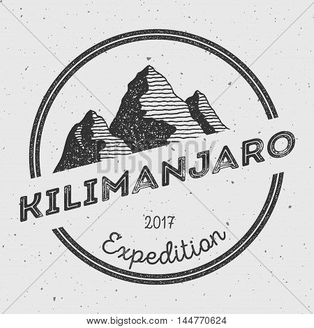 Kilimanjaro In Eastern Rift, Tanzania Outdoor Adventure Logo. Round Expedition Vector Insignia. Clim