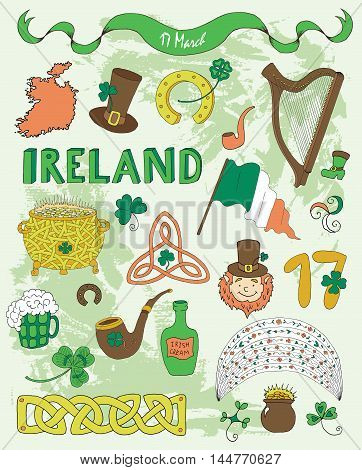 Doodle set with colorful hand drawn icons and symbols of St. Patricks Day: clover, rainbow, pot of gold, pipe, hat, horseshoe, harp, shamrock and lettering. Vector drawings and illustrations