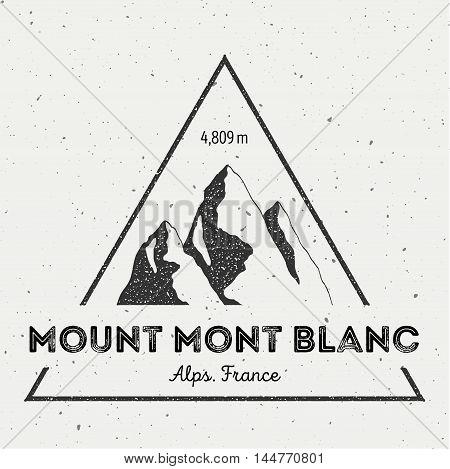Mont Blanc In Alps, Italy Outdoor Adventure Logo. Triangular Mountain Vector Insignia. Climbing, Tre