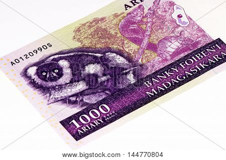 1000 Malagasy ariary bank note of Madagascar. Malagasy ariary is the national currency of Madagascar