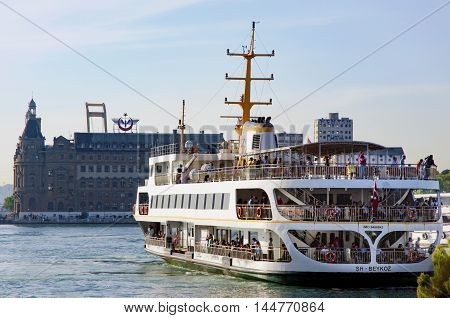 Istanbul Turkey - May 29 2016: Strait of Istanbul Kadikoy Pier Haydarpasa train station and Ferries. Istanbul Haydarpasa Terminal or Haydarpasa Terminus (Turkish: Haydarpasa Gari) is a railway terminal in Istanbul. Until 2012 the station was a major inter