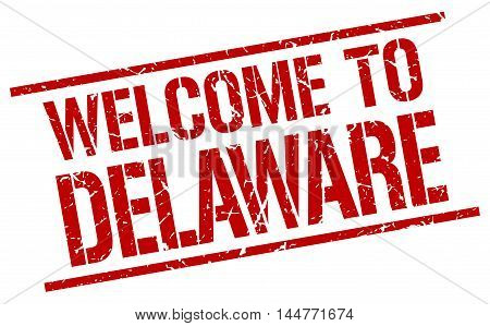 welcome to Delaware. stamp. grunge square sign