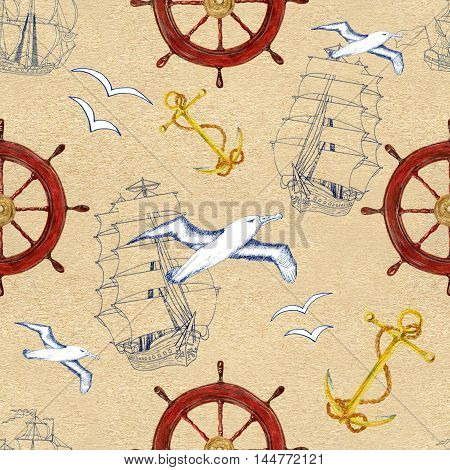 Seamless hand drawn vintage pattern with sailing ship, steering wheel, sea gulls and anchor on texture background. Watercolor repeated illustration.