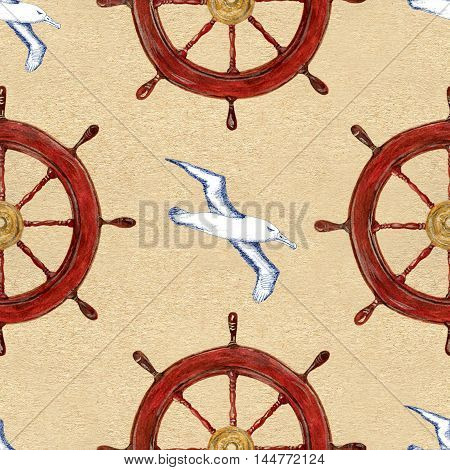 Seamless hand drawn vintage pattern with ship helm or steering wheel and white flying sea gulls on texture background. Watercolor repeated illustration.