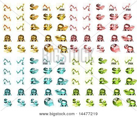 finance dollar and euro stock quotation icon collection.(100 icons)