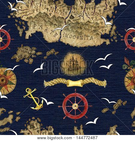 Sea pattern with compass, steering wheel, anchor, flying gulls and fantasy treasure island. Seamless background with hand drawn elements. Colorful textured illustration of old pirate map