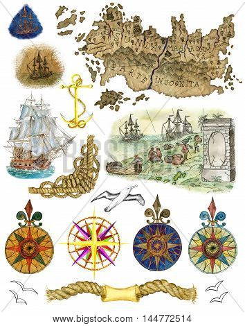 Vintage set with watercolor sea design elements isolated on white - pirate map, old sailing ship, compass, anchor, flying gulls and rope knots. Collection with hand drawn nautical illustrations