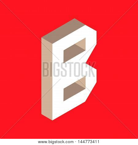 3d isometric letter b. typography for headlines, posters etc.