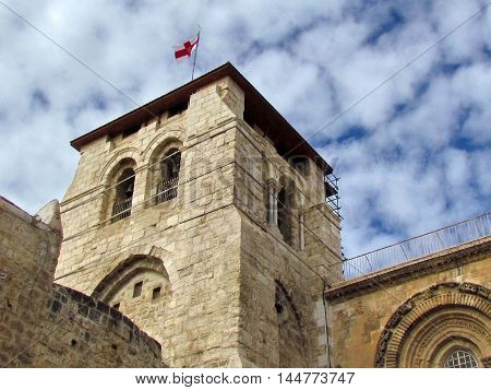 Bell Tower of Church of the Holy Sepulcher in Jerusalem Israel