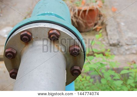 water valve plumbing steel pipes joints and Rusty
