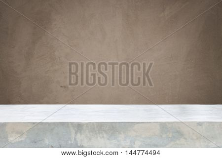Concrete table top with gray concrete texture background with filter