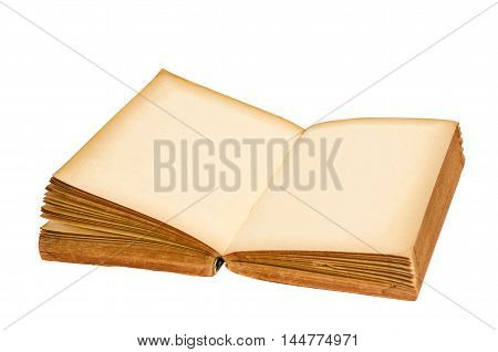 open old blank book isolated on white background Saved clipping path.