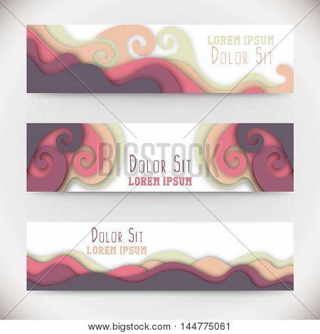 Three colorful horizontal banners with curved shapes as a wave or hill. Size 468 x 120. Vector illustration, eps10.