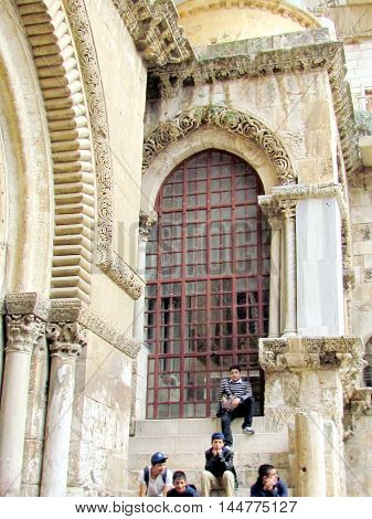 Big window of Church of the Holy Sepulcher in Jerusalem Israel