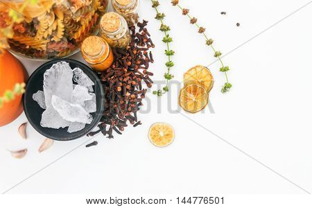 Group Of Indian Spices And Herbs On White Background, Top View Mix Indian Spices And Herbs Differenc