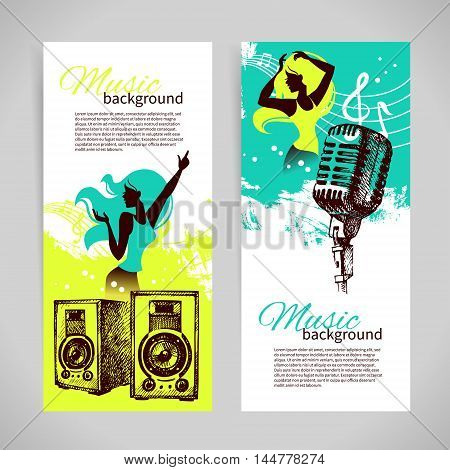 Music banners with hand drawn illustration and dance girl