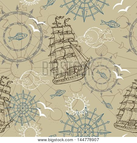 Sea seamless background with old marine symbols, compass and ship. Line art sea vector. Doodle illustration with vintage transportation emblems, hand drawn repeated background