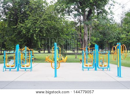 Colorful exercise fitness equipment in public park