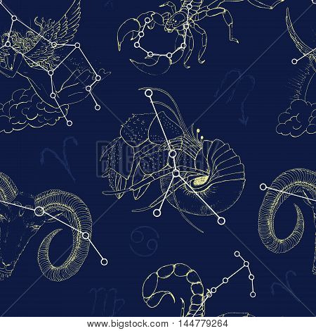 Seamless pattern with Zodiacs sign Aries, Scorpio, Virgo and Cancer. Line art vector with horoscope symbols. Doodle mystic and astrology illustration, hand drawn repeated background