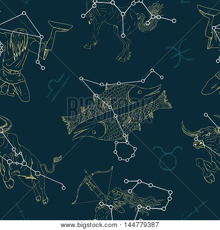 Seamless pattern with Zodiacs signs Sagittarius, Libra and Pisces. Line art vector with horoscope symbols. Doodle mystic and astrology illustration, hand drawn repeated background