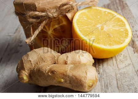 Fresh Lemon, Honey And Ginger On Wooden Table, Healthy Food