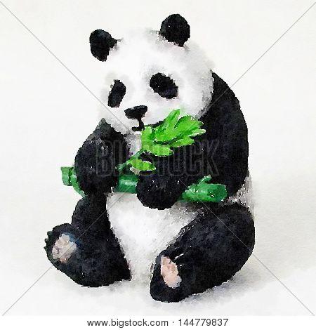 Digital painted watercolor panda bear with bamboo brunch in his hand, cute looking.