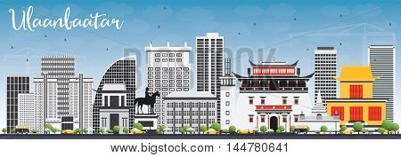 Ulaanbaatar Skyline with Gray Buildings and Blue Sky. Vector Illustration. Business Travel and Tourism Concept with Historic Buildings. Image for Presentation Banner Placard and Web Site.