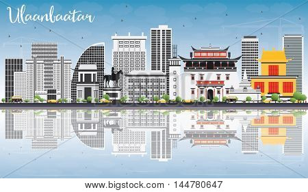 Ulaanbaatar Skyline with Gray Landmarks, Blue Sky and Reflections. Vector Illustration. Business Travel and Tourism Concept with Historic Buildings. Image for Presentation Banner Placard and Web Site.