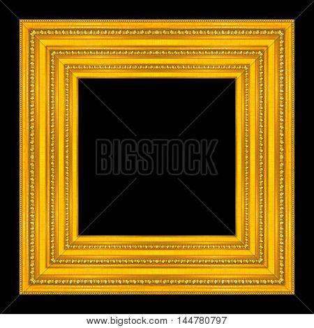 picture frame wooden Carved pattern isolated on a black background.