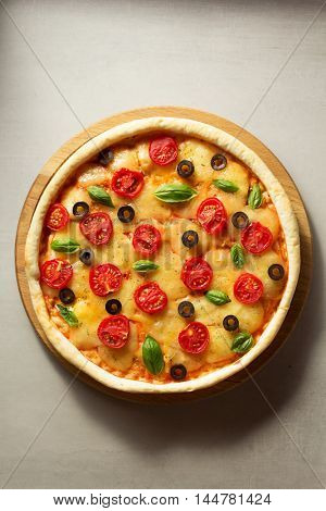 italian pizza at table surface background