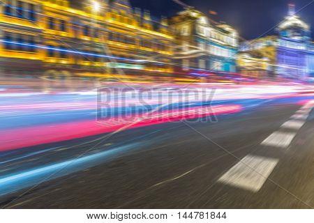 vehicle light trails at city road,shanghai,china.