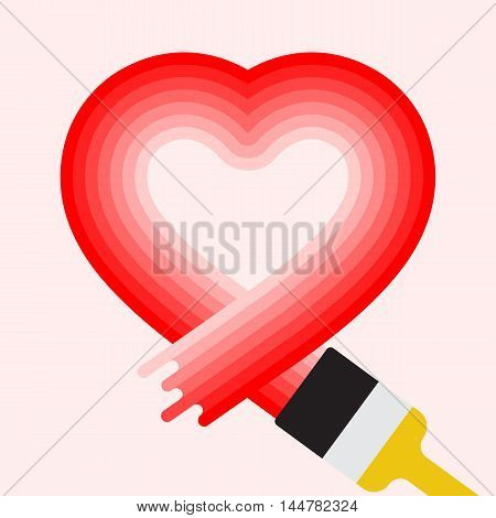 Vector heart symbol in flat style. Love graphic sign. Paint brush design. Modern shape isolated. Red color. Health concept. Romantic flat icon