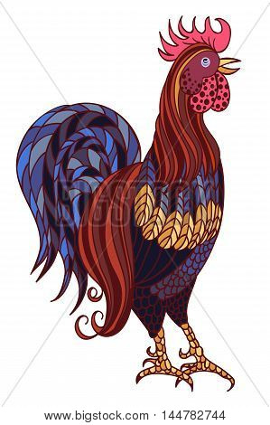 Decorative stylized hand-drawn rooster isolated on white background. Symbol of Chinese New Year 2017. Vector illustration.