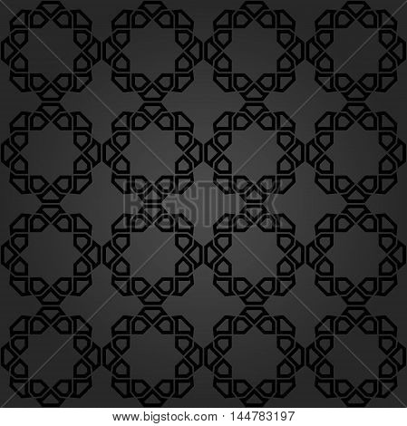 Seamless dark ornament. Modern geometric pattern with repeating elements
