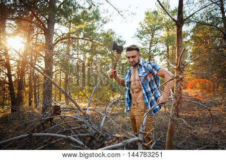 Lumberjack with an ax chopping branches. Woodcutter in unbuttoned shirt in the coniferous forest. Felling trees. Logging. Manual labor. Brutal man.