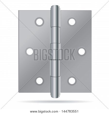 Stainless steel hinges on white background. Hinges.