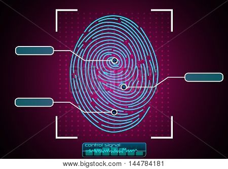 Illustration of  blue Fingerprint Scanning Identification System