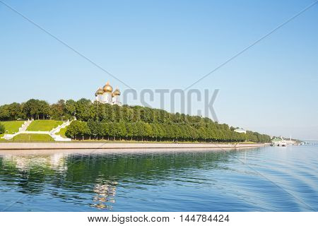 Embankment of city of Yaroslavl on the Volga River. Included in the tourist route Golden Ring of Russia