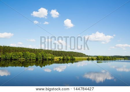 Summer landscape of the Volga river in Russia
