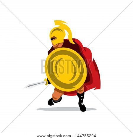 Man with a shield and sword. Isolated on a white background