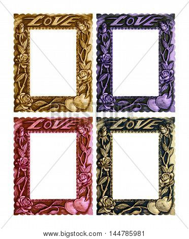 Frame picture love isolated on white background.